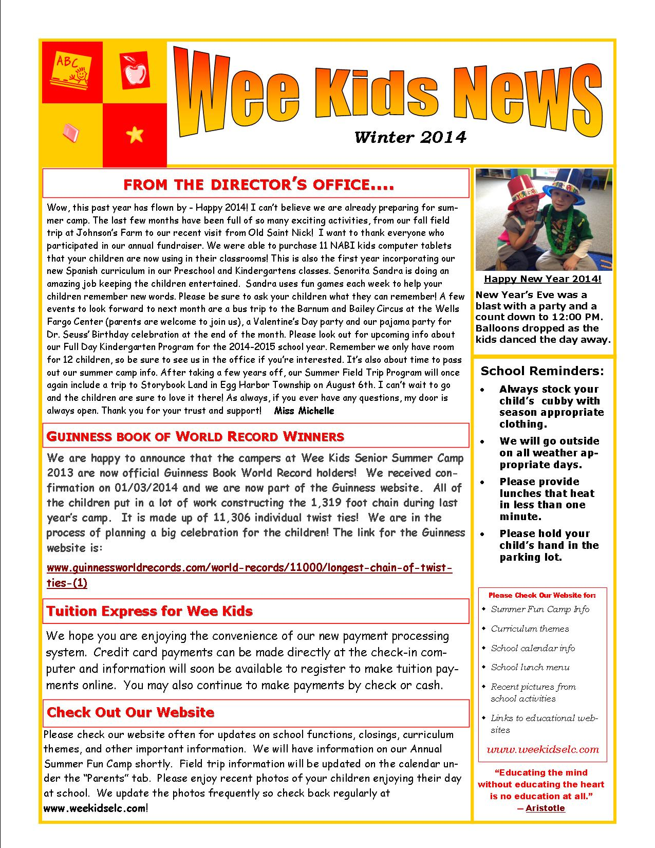 News Letter Winter   Wee Kids Early Learning Center